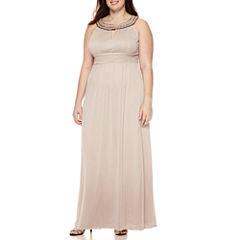 Melrose Sleeveless Keyhole Beaded-Neck Gown - Plus