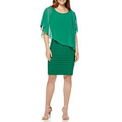 Scarlett Sleeveless Shutter Dress with Cape