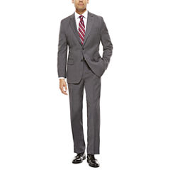 Stafford® Travel Classic-Fit Stretch Charcoal Windowpane Suit Separates