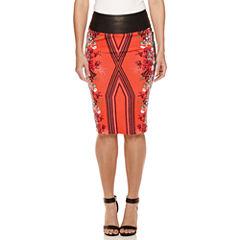 Bisou Bisou® Faux-Leather-Waist Scuba Skirt