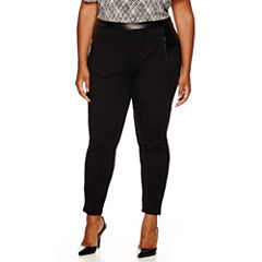 Worthington® Zip-Pocket Ponte Pleather Leggings - Plus