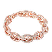 Worthington® Pavé-Set Crystal Rose-Tone Stretch Bracelet