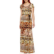 Tiana B. Short-Sleeve Tribal Print Maxi Dress