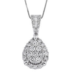 1 CT. T.W. Certified Diamond 14K White Gold Pear-Shaped Pendant Necklace