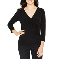 Black Label by Evan-Picone 3/4 Sleeve V Neck Jersey Blouse