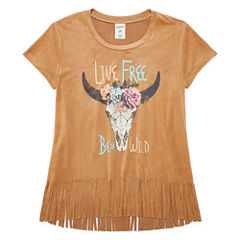 Arizona Faux Suede Fringe Tee - Girls' 7-16 and Plus