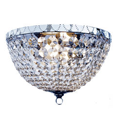 Elegant Designs 2 Light Victoria Crystal Rain Drop Ceiling Light Flushmount