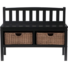 Holden Wood Bench with Ratan Baskets