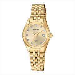 Citizen® Quartz Womens Gold Tone Stainless Steel Swarovski Crystal Accent Bracelet Watch Eu6052-53P
