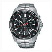 Pulsar® Men'S Silver Tone Black Dial Solar Chronograph Bracelet Watch Pz5005