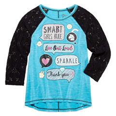 Emoji, Inc. Round Neck 3/4 Sleeve Fitted Sleeve Blouse - Big Kid Girls