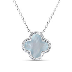 Womens White Mother Of Pearl Sterling Silver Pendant Necklace
