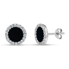 Round Black Onyx Sterling Silver Stud Earrings