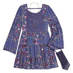 Knit Works Blue Floral Long Sleeve Peasant Dress w/ Purse- Girls' 7-16