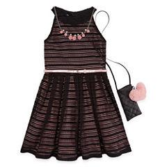 Knit Works Belted Stripe Sleeveless Skater Dress w/ Purse- Girls' 7-16