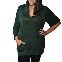 24/7 Comfort Apparel 3/4 Sleeve Hoodie Knit Hoodie Plus