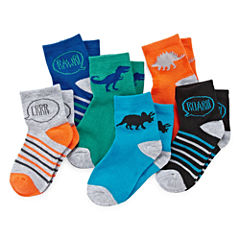 Okie Dokie® Dinosaur 6pk Low-Cut Socks - Boys 2-6