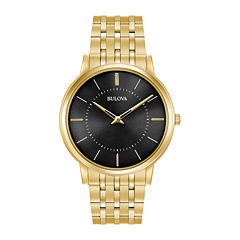 Bulova Mens Gold Tone Bracelet Watch-97a127