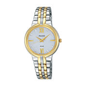 Pulsar® Womens Two-Tone Crystal Accent Bracelet Watch PY5024