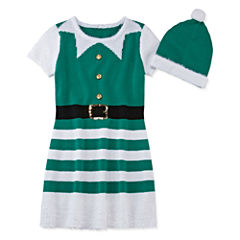 Fashion Avenue Short-Sleeve Green Elf Sweater Dress - Girls 7-16