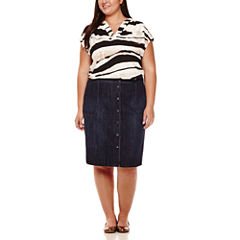 Liz Claiborne® Short-Sleeve Split-Neck Blouse or Pleather Midi Skirt - Plus
