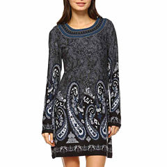 White Mark Sandrine Embroidered Embroidered Sweater Dress