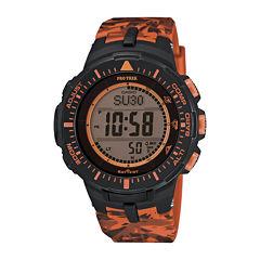 Casio® Pro Trek Tough Solar Triple Sensor Mens Orange Camo Sport Watch PRG300CM-4