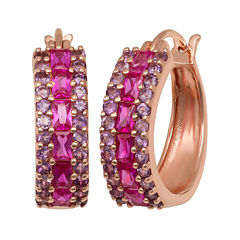Lab-Created Ruby & Genuine Amethyst 14K Gold Over Silver Earrings