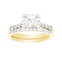 DiamonArt® Cubic Zirconia 3 1/5 CT. T.W. 10K Yellow Gold Bridal Ring Set