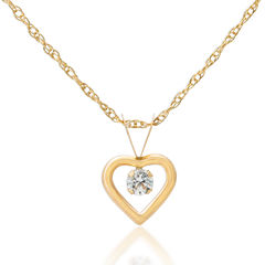 Children's 14K Gold Cubic Zirconia Heart Pendant Necklace