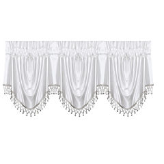 Sonata Festoon Rod-Pocket Ball Fringe-Trim Lined Valance