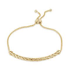 Diamonart Womens Diamond Accent White Cubic Zirconia 18K Gold Over Silver Bolo Bracelet