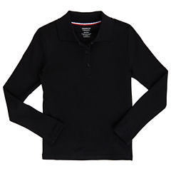 French Toast Long Sleeve Polo Shirt - Big Kid Girls Plus
