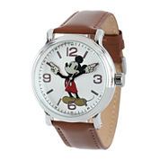 Disney Mickey Mouse Mens Brown Leather Strap Watch