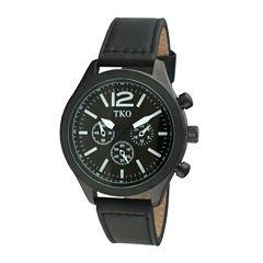 TKO ORLOGI Womens Crystal-Accent Black Dial Multifunction-Look Bracelet Watch