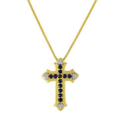 Lab-Created Blue and White Sapphire Cross Pendant Necklace