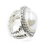 Vieste® Silver-Tone Simulated Rose Pearl & Crystal Round Stretch Ring