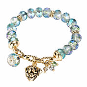 Pet Friends Green Bead Gold-Tone Stretch Bracelet