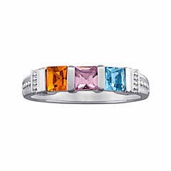 Personalized Three-Stone Birthstone Ring