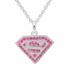 DC Comics® Superman Brass Pink Crystal Pendant Necklace