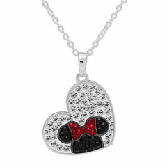 Disney Minnie Mouse Silver Plated Brass Crystal Heart Pendant Necklace