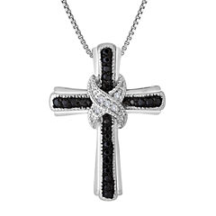 1/10 CT. T.W. White and Color-Enhanced Black Diamond Cross Pendant Necklace