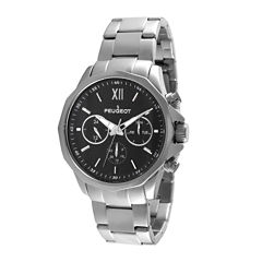 Peugeot® Mens Stainless Steel Link Bracelet Watch 1046SBK