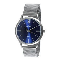 Peugeot® Mens Blue Dial Stainless Steel Mesh Watch 1052SBL