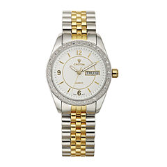 Croton Womens Crystal-Accent Two-Tone Bracelet Watch