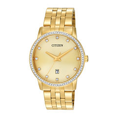 Citizen® Mens Crystal-Accent Gold-Tone Stainless Steel Watch BI5032-56P