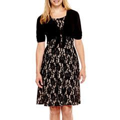 Perceptions Short-Sleeve Lace Jacket Dress - Petite