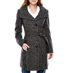 Worthington® Funnel-Neck Wool-Blend Coat - Tall