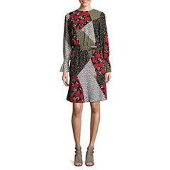 Libby Edelman Long Sleeve Mix Print Dress
