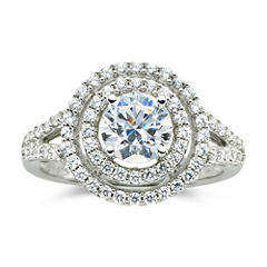 DiamonArt® 1½ CT. T.W. Cubic Zirconia Double Halo Ring